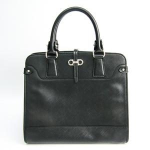 Salvatore Ferragamo Gancini DY-21 D290 Leather Handbag Black