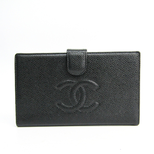 Chanel A13498 Caviar Leather Caviar Leather Long Wallet (bi-fold) Black