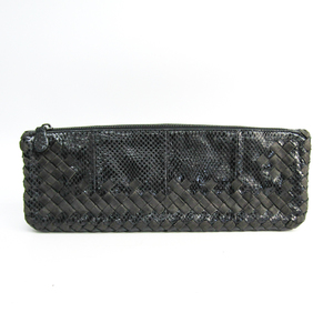 Bottega Veneta Intrecciato Unisex Leather,Textile Clutch Bag Black