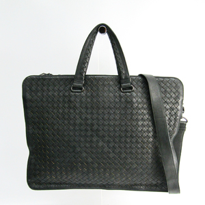 Bottega Veneta Intrecciato Men's Leather Briefcase Dark Gray