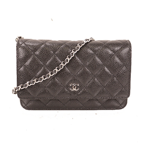 Chanel Chain Wallet Women's Caviar Leather Chain/Shoulder Wallet Black