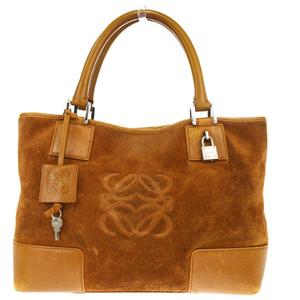 Loewe Amazona Suede,Leather Handbag Brown