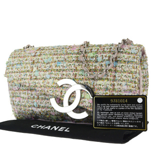 Chanel Coco Mark Chain Tweed,Leather Shoulder Bag Pink