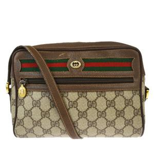 Gucci Sherry Line GG Pattern Interlocking PVC,Leather Shoulder Bag Brown