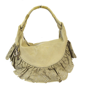 Christian Dior Frills Leather Shoulder Bag Ivory