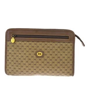 Gucci Micro GG Pattern Interlocking PVC,Leather Clutch Bag Brown