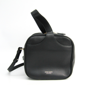 Giorgio Armani Top Handle Bag Y1A126 YCO2A Women's Leather Handbag Black