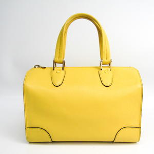 Valextra Small Boston Bag V5C15 Women's Leather Handbag Yellow