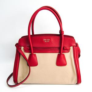 Prada BN2595 Women's Canapa,Saffiano Handbag Beige,Fuoco