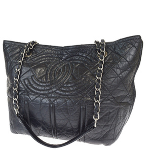 Chanel Coco Mark Chain Leather Shoulder Bag Black