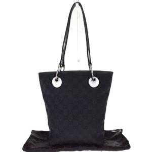 Gucci GG Pattern Canvas,Leather Shoulder Bag Black