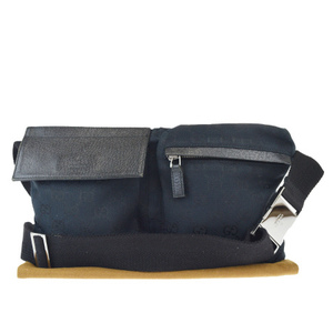 Gucci GG Pattern Canvas,Leather Fanny Pack Black