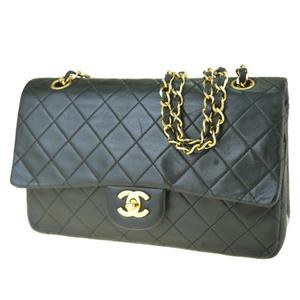 Chanel Matelasse Coco Mark Chain Leather Shoulder Bag Black