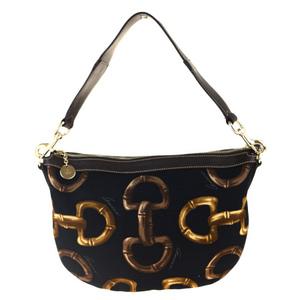 Gucci Horsebit Canvas,Leather Shoulder Bag Black