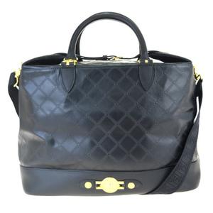 ヴェルサーチェ(Versace) 2WAY レザー ハンドバッグ ブラック