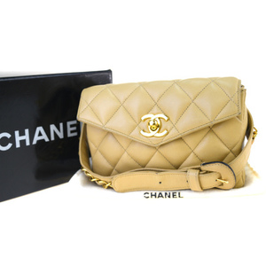 Chanel Coco Mark Leather Fanny Pack Beige