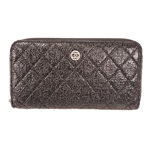 Auth Chanel   Long Wallet (bi-fold) Black