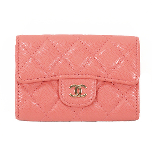 Auth Chanel Name Card Holder Caviar Leather Business Card Case Pink
