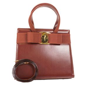 Auth Salvatore Ferragamo Vara  Handbag Brown