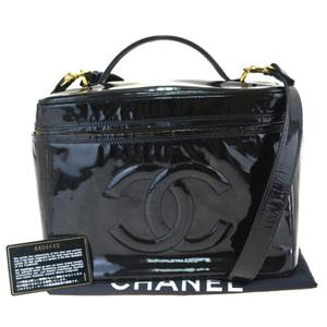 Chanel 2WAY Coco Mark Patent Leather Vanity Bag Black