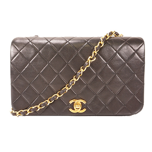 Auth Chanel MatelasseSingle Chain Women's Leather Shoulder Bag