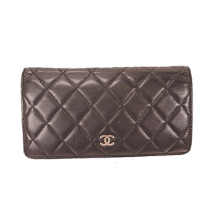 Auth Chanel Matelasse   Bifold Long Wallet Women's  Lambskin Long