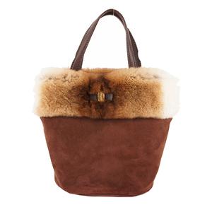 Auth Salvatore Ferragamo Vara Handbag Women's Suede Handbag Brown