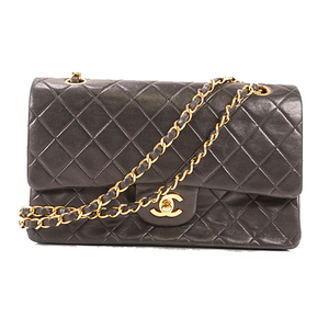 Chanel Matelasse W Flap W Chain Shoulder Women's Leather Shoulder Bag Black