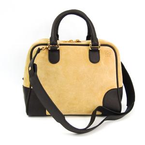 Loewe Amazona 75 301.61.L03 Suede,Leather Bag Beige,Brown