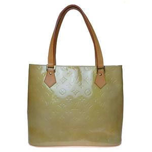 Auth Louis Vuitton Monogram Vernis M91004 Houston Handbag Soft Beige