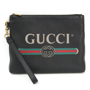 Gucci GUCCI Logo 572770 Unisex Leather Clutch Bag Black,Green,Red