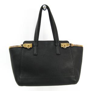 Salvatore Ferragamo Gancini DY-21 D698 Leather Handbag Black
