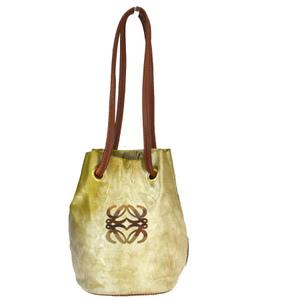 Loewe Nylon,Leather Shoulder Bag Gold