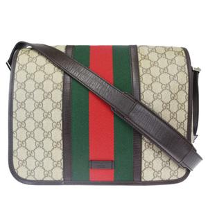 Gucci Sherry Line GG Pattern PVC,Leather Shoulder Bag Brown