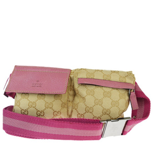 Gucci GG Pattern Canvas,Leather Fanny Pack Pink