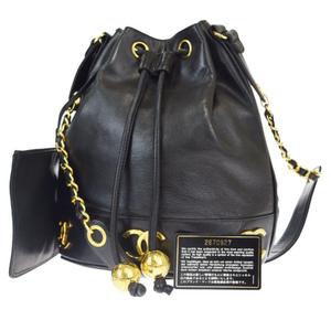 Chanel Triple Coco Chain Leather Shoulder Bag Black