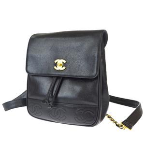 Chanel Triple Coco Caviar Skin Leather Backpack Black