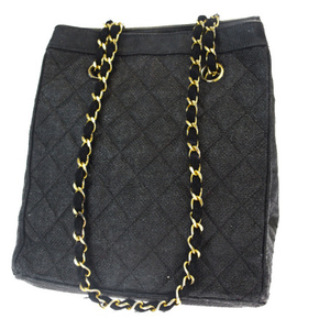 Chanel Coco Mark Chain Coated Canvas Shoulder Bag Black