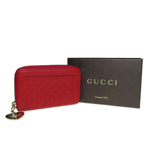 Auth Gucci Guccissima 268750 Leather Coin Purse/coin Case Red Heart Charm