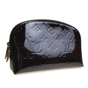 Auth Louis Vuitton Monogram Vernis Pochette Cosmetic M91495 Pouch,Wash Bag Amarante