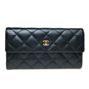 Auth Chanel Matelasse Lambskin Leather Long Wallet (bi-fold) Black