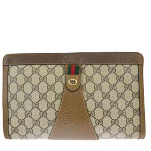 グッチ(Gucci) シェリーライン GG柄 インターロッキング PVC,レザー クラッチバッグ ブラウン