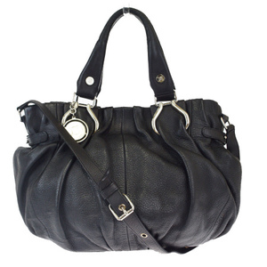 Celine 2WAY Leather Handbag Black