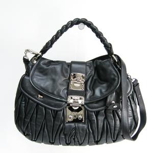 Miu Miu Matelasse RR1300 Women's Leather Shoulder Bag Dark Navy