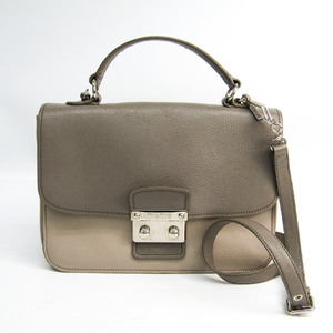 Miu Miu Viola RN0726 Women's Madras Handbag Dark Gray,Light Gray