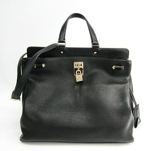 Valentino Garavani Lock Studs NW2B0A54VSL Women's Leather Studded Handbag Black