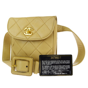 Chanel Coco Mark 80/32 Leather Fanny Pack Beige