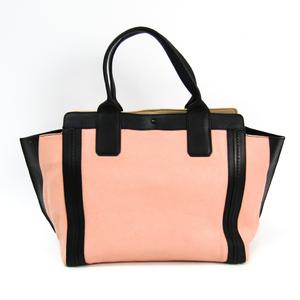 Chloé Allison 3S164-703 Women's Leather Tote Bag Black,Light Pink