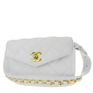 Chanel Coco Mark 65/26 Leather Fanny Pack White