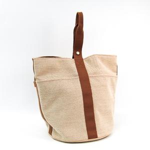 Hermes Saxon GM Canvas Handbag Beige,Brown